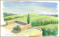 View from Terraces at Carmel Spa, Israel (6x8 inches)